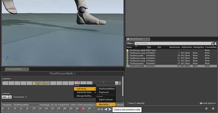 Creating sand footprints in unreal engine 4 wacki adding custom animnotify to the third person character malvernweather Choice Image