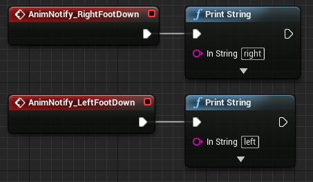 Creating sand footprints in unreal engine 4 wacki events in the graph of the animation blueprint to do something for now well print the string left and right based on which foot hit the ground to malvernweather Images